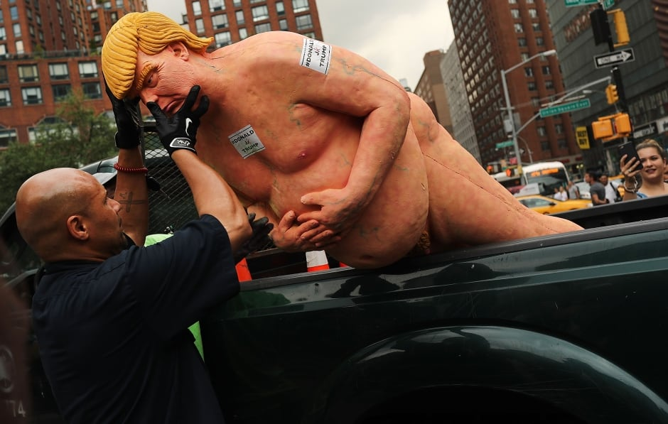 Donald Trump art naked statue in New York City removed
