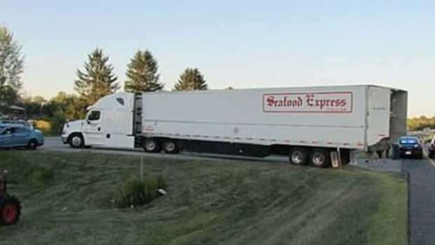 The Seafood Express truck was turning into an authorized vehicle turnout, say Maine State Police.