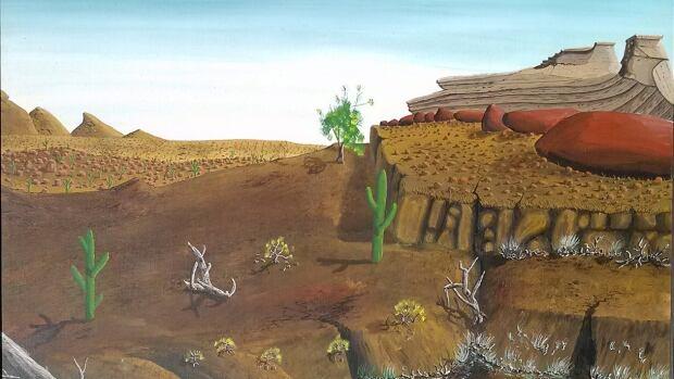 Desert landscape by Peter Doige