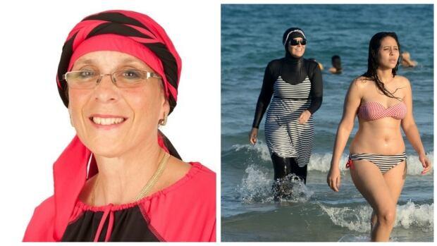Modest swimwear collage