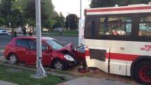1 man dead after car rear-ends TTC bus in Scarborough