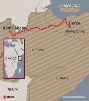 The route from Burco, Somaliland, to Addis Ababa, Ethiopia