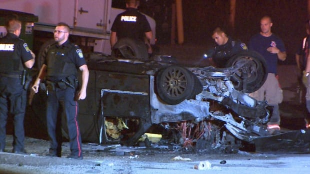 Road rage incident ends in fiery crash in Mississauga, Ont.