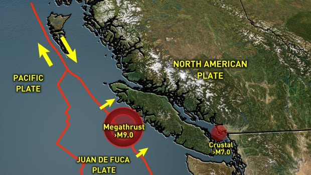 The Juan de Fuca oceanic plate is trying to move under the North American plate. As a result, the South Coast of B.C. can get both megathrust earthquakes off the coast as well as shallow earthquakes just below some of the major cities.