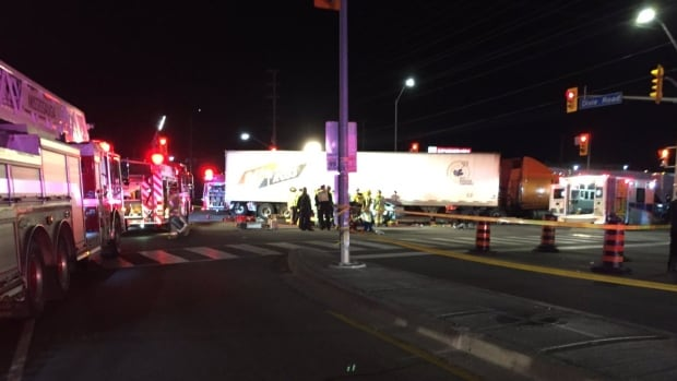 Two people were killed and one was seriously injured in a collision involving a transport truck in Mississauga.
