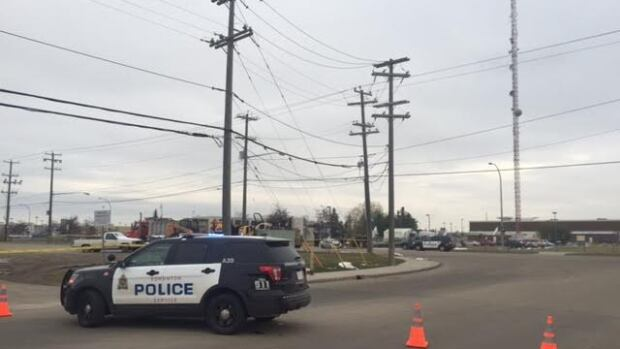Police say the communications tower at CTV in west Edmonton is in danger of collapse after a stolen semi-truck hit a support cable Tuesday afternoon.