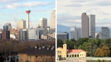 Calgary Saddledome Denver skyline
