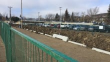Two rows of parking are unusable at the Century Park LRT parking lot.