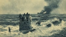 This 1941 painting by German artist Adolf Brock shows a U-boat sinking a British cargo ship. The cre