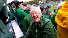 Phyllis Mueller celebrates Riders