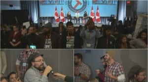 Trudeau faces angry protests at Young Workers Summit