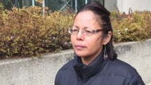 Crystal Crier leaving court in Edmonton Friday