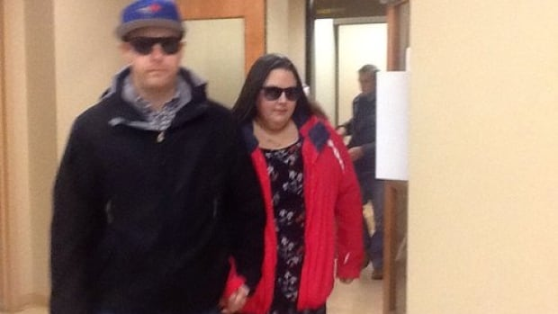 Mandy Trecartin leaves court after testifying in Campbellton on Wednesday.