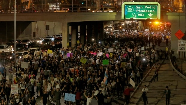 Demonstrators take over the Hollywood 101 Freeway in protest to the election of Republican Donald Trump as president in Los Angeles late on Wednesday.