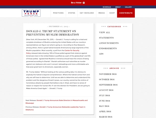 trump site screengrab