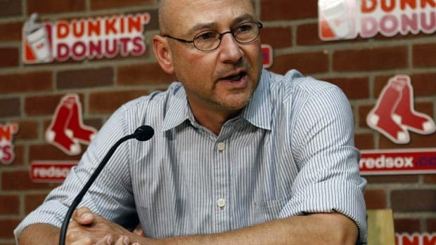 Former Red Sox manager Terry Francona, now with the Indians, talks to reporters in the visiting team dugout at Boston's Fenway Park Thursday night. The Red Sox let him go in 2011.