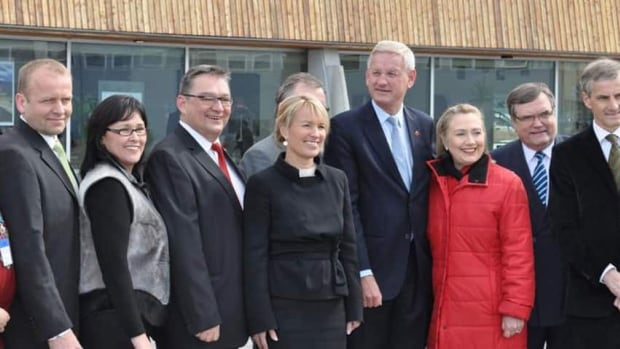 Arctic Council leaders, including Canada's Leona Aglukkaq, second from left, and U.S. Secretary of State Hillary Clinton, third from right, pose for a photograph in Nuuk, Greenland, in 2011.
