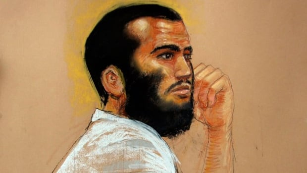 In this courtroom artist's sketch, Omar Khadr is shown attending a hearing at the Camp Justice compound, Guantanamo Bay.