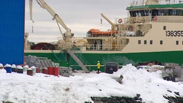 The Katsheshuk II is shown shortly after arriving in port in Bay Roberts in February 2012. A man was killed on board the vessel while at sea the day before.