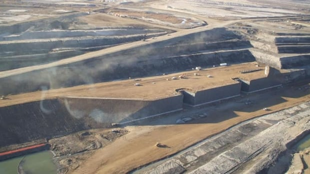 An aeriel view of the existing Shell Jackpine oilsands mine north of Fort McMurray.