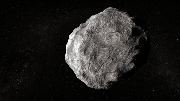The asteroid, shown in an artist's impression, was originally 600 metres to a kilometre in diameter.