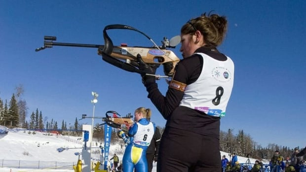 Athletes compete in the snowshoe biathlon in the 2008 Arctic Winter Games. Trials for the sport will be held indoors this weekend, as temperatures drop to –30 C.