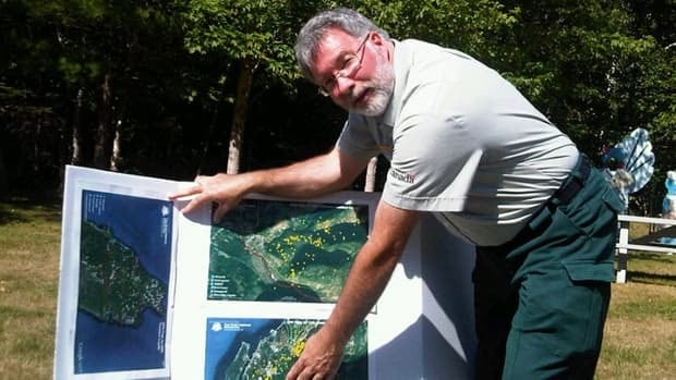 Cape Breton Highlands National Park wildlife manager Derek Quann displays maps of coyotes' locations from GPS trackers.