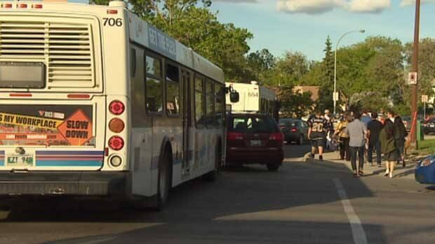 Hundreds of frustrated transit passengers opted to get off the buses and walk the rest of the way to the stadium during last week's football game.