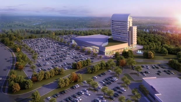 An artist render of what a hotel, convention centre and casino could look like on the Bingeman's property in Kitchener.