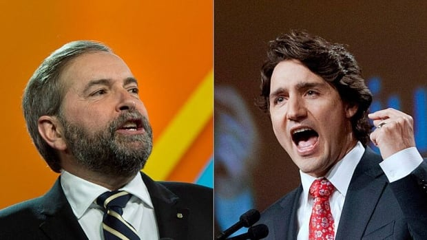 NDP Leader Tom Mulcair, left, and Liberal Leader Justin Trudeau, along with Green Party leader Elizabeth May and Conservative MP Michael Chong, are talking about how to make politics matter to young people, at a University of Ottawa event called iVote.