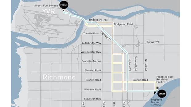 The proposed jet fuel pipeline through Richmond.