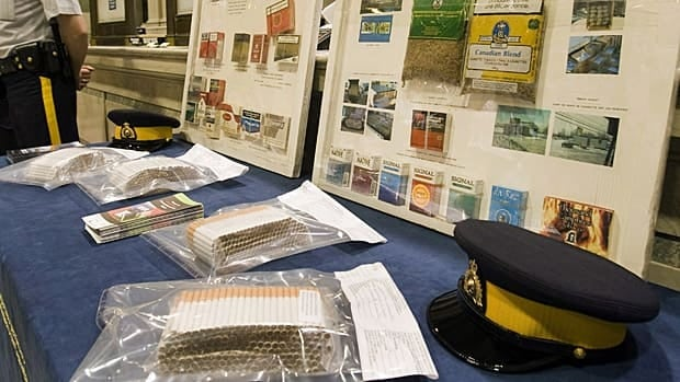 Contraband tobacco is displayed at a news conference in May 2010 in Montreal.