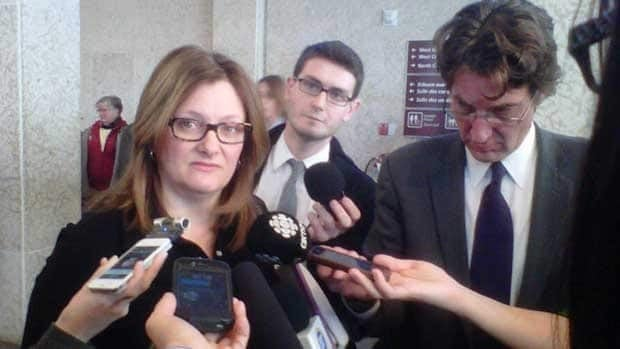 Coun. Paula Havixbeck speaks to reporters at Winnipeg city hall after the operational and capital budgets were tabled on Jan. 9.