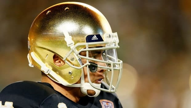 Notre Dame linebacker Manti Te'o pauses during an interview with ESPN on Jan. 18.