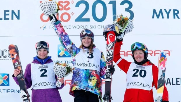 Kaya Turski shows off her gold medal after the women's slopestyle final on Saturday in Voss, Norway.