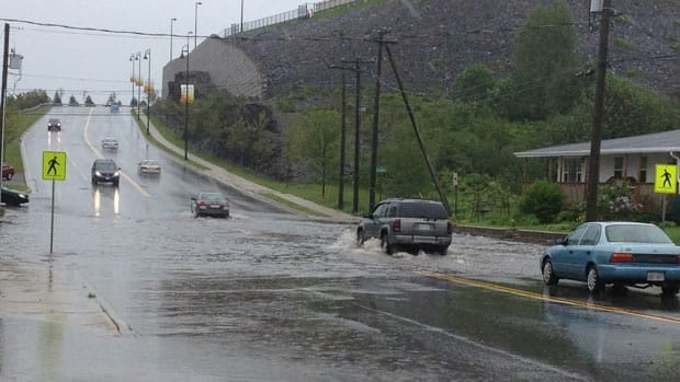Retail Drive in Saint John flooded during heavy rainfall earlier this month.