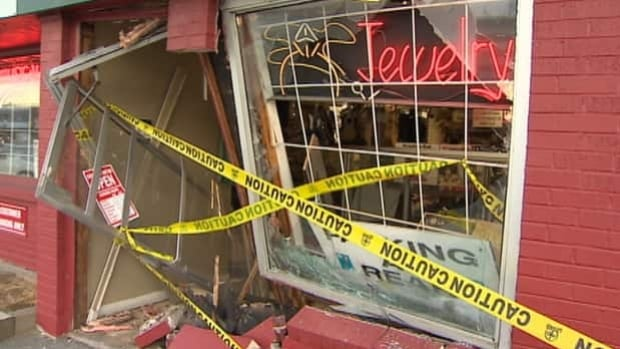 There is a lot of damage to the Platinum Pawn Shop.