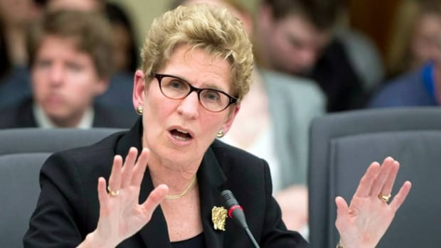 Ontario Premier Kathleen Wynne appears before the legislature's justice committee hearing on cancelled gas plants in April. Wynne says former premier Dalton McGuinty should appear before the committee to answer questions on deleted emails about the gas plants.