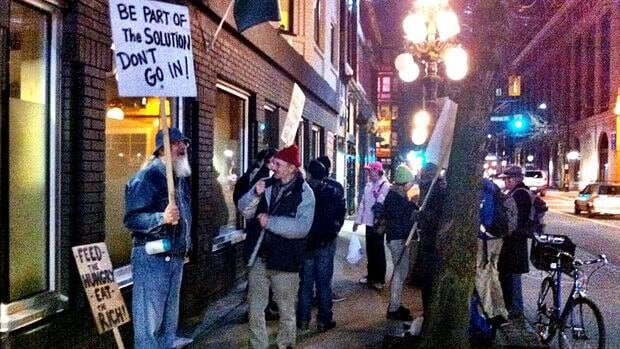 Protesters block access to Pidgin restaurant on the Downtown Eastside.