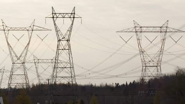 Transmission lines coming from James Bay to southern Quebec.