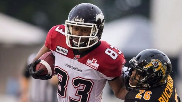 Romby Bryant, left, had 183 catches for 2,477 yards and 22 touchdowns the last three seasons with the Calgary Stampeders.