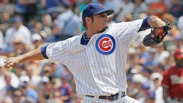 Chicago Cubs starter Matt Garza throws a pitch against the Arizona Diamondbacks at Wrigley Field last July.
