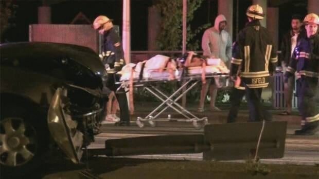 Two serious accidents in Surrey sent a total of seven people to hospital Saturday night.