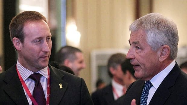 Defence Minister Peter MacKay is in Washington Tuesday for talks with U.S. Defense Secretary Chuck Hagel (right.)  The two counterparts are seen here at the International Institute for Strategic Studies Summit in Singapore last month.