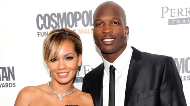 Ex-NFL receiver Chad Johnson, right, was on probation after pleading no contest to head-butting his then-wife, TV reality star Evelyn Lozada, left, during an altercation last August.