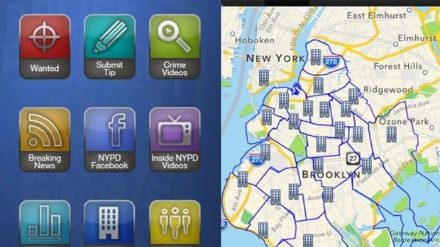 An app released last month by the New York City Police Department allows users the ability to search for police stations, submit tips, and even see a list of wanted alleged criminals.