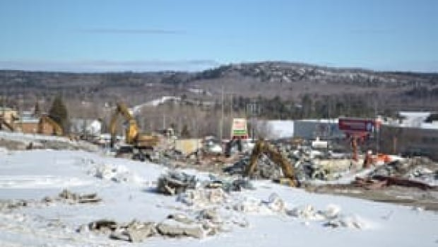 The former Algo Centre Mall in Elliot Lake, Ont. has been almost completely demolished as an inquiry into the building's roof collapse continues.