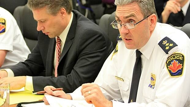Chief Glenn De Caire presents an amended 2013 budget to the police services board on Monday. The budget was amended after city council would only accept an increase of 3.52 per cent over the year before.