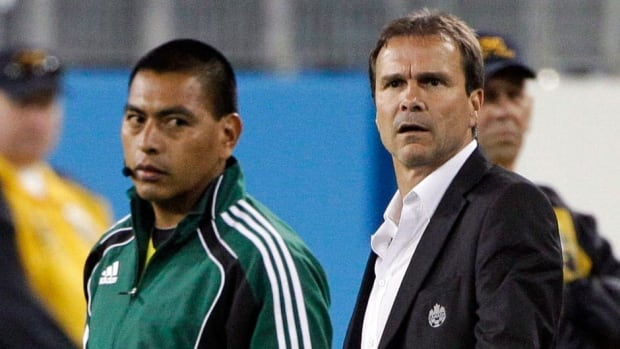 Tony Fonseca, right, the technical director for the Canadian Soccer Association, is the latest to fill in while the CSA looks for a permanent replacement for former coach Stephen Hart.