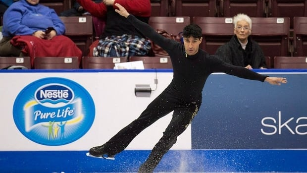 Emanuel Sandhu practices during the 2013 Canadian Figure Skating Championships in Mississauga, Ont. on Thursday.